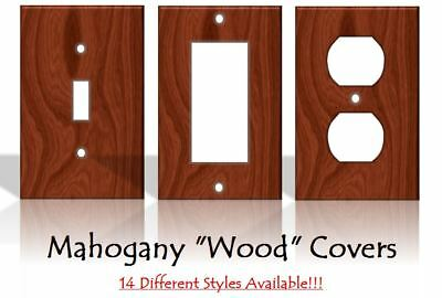 Mahogany Red Wood Pattern Light Switch Covers Home Decor - Made from Plastic
