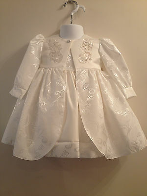 Little Baby Girls White Christening Wedding Dress Coat Hat Beads & Sequins Party