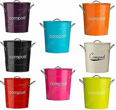 Kitchen Garden Compost Bin Bucket Large Metal Galvanized Caddy Waste Dustbin New