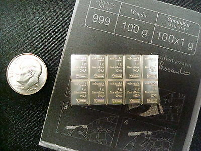 10 Grams 999 Solid SILVER Valcambi Suisse 10x1gram bars with copy of ASSAY