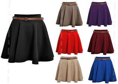 Womens Belted Skater Skirt Ladies Short Mini Skirt 8-14