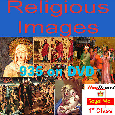 935 RELIGIOUS PAINTING IMAGES on DVD great for art craft card making etc