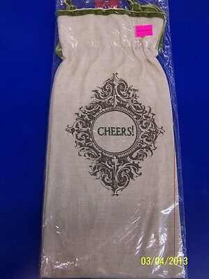 Muslin Cotton Fabric Christmas Cocktail Wine Party Bottle Gift Bag - Cheers!