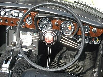 For Mg Mgb 1962-1980 Real Black Leather Steering Wheel Cover Multi Colors Stitch