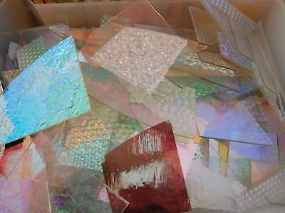 CBS Dichroic Glass Scrap: 8 Oz.Jewelers Pack. 90COE on Clear