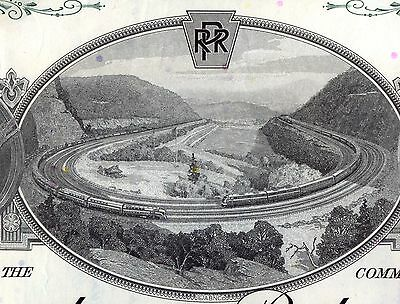 Pennsylvania Railroad Company 2 Color Stock Certificate Set Horseshoe Curve