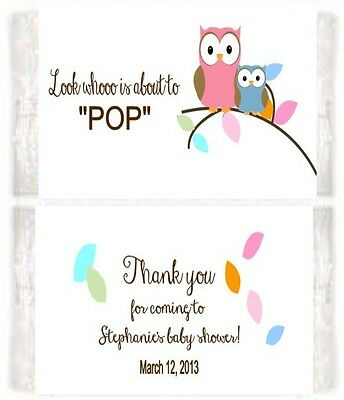 Baby Shower Owls Popcorn Wrappers Birthday Party Favors Personalized