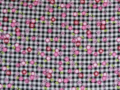 Crib Sheet/ Fitted/ Cotton - Hot Pink & White Daisies On Black Gingham