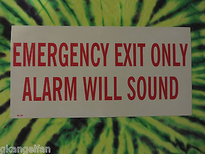 """Self-Adhesive Vinyl """"emergency Exit Only Alarm Will Sound"""" Sign 6"""" X 12"""" New"""