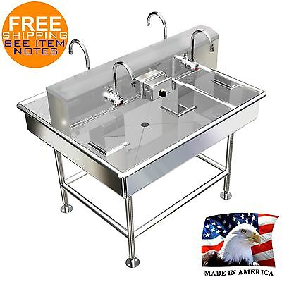 Island Hand Sink 4 Users 48X40 Wash Up Electronic Faucet Hands Free Made In Usa