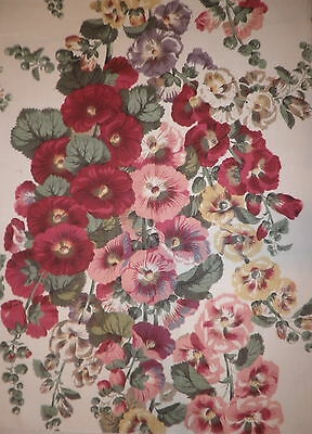 CLARENCE HOUSE Jean Monro Hollyhock Floral Pink Green Linen Large Remnant New