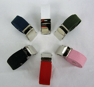 """Lot Of 2 -- Web Military Style  Canvas Belt  W/ Chrome Buckle   42""""  X  1 1/4"""""""