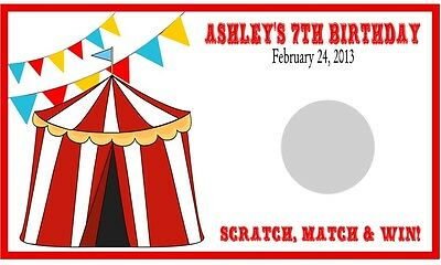 Circus Carnival Birthday Party Scratch Off Cards Tickets Favors Personalized