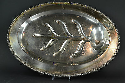 Silverplate Oval Footed Meat Carver Serving Tray Large Platter