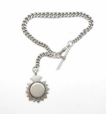 """Antique Victorian Graduated Albert Chain And Fob 1890 Sterling Silver 73.8g 12"""""""
