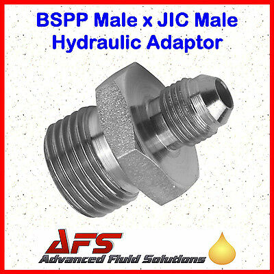 Hydraulic Steel BSPP Male 60º Coned X JIC Male Adaptor Unequal Fitting Union BSP