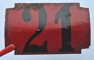 1900s Imperial Russia Apartment Flat Door Number Sign #21 RARE TIN TYPE
