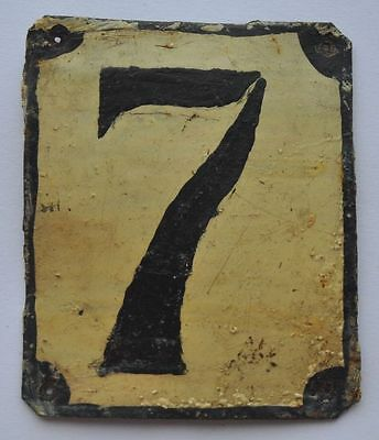 1900s Imperial Russia Apartment Flat Door Number Sign #7 RARE TIN TYPE