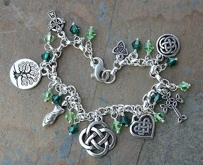 Celtic Knots Charm bracelet w/ emerald & peridot crystals- sterling silver chain