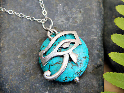 Eye of Horus Egyptian Protection Amulet + Turquoise Howlite + Silver Necklace