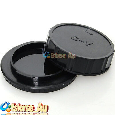 Camera Body Cover + Lens Rear Cover Cap For Contax Yashica C/Y CY Mount