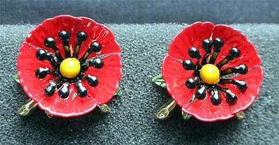 Vintage 50s Goldtone Red Black Enamel FLOWER Clip-On Earrings