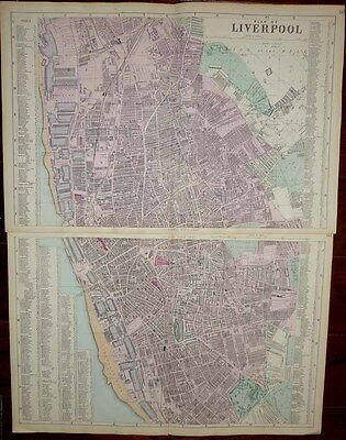 1883 Bacon 2 Sheet City Map LIVERPOOL Unmatched Detail, Historically Important!