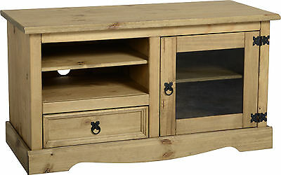 Corona Entertainment Glass Tv Unit In Distressed Wax Pine-Free Next Day Delivery