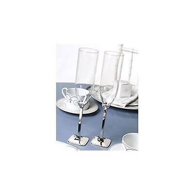 NEW Silver Plated Stem Dotted Wedding Toasting Flutes Glasses
