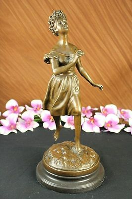 Art Deco Victorian Lady Bronze Sculpture Marble Base Statue Figurine Figure SALE