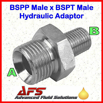 Hydraulic Steel Male BSPP 60º Coned  x BSPT Male Adaptor Unequal Fitting Union