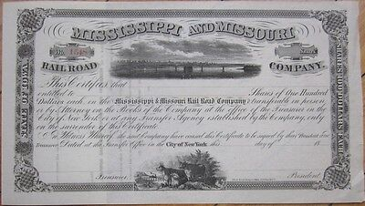 1860s Railroad Stock Certificate: 'Mississippi & Missouri Rail Road Company,' MS