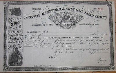 1860s Railroad Stock Certificate: 'Boston, Hartford & Erie Rail Road Company'