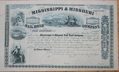 1850s Railroad Stock Certificate: 'Mississippi & Missouri Rail Road Company,' MS