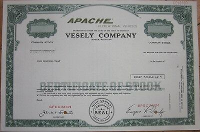 SPECIMEN STOCK CERTIFICATE: 'Vesely Co ' Apache Pop-Up Camping