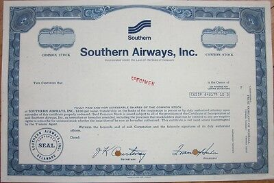 SPECIMEN Stock Certificate: 'Southern Airways, Inc.' - Airline/Aviation/Air Line