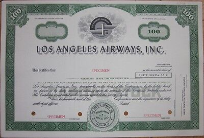 SPECIMEN Stock Certificate: 'Los Angeles Airways, Inc.' - Helicopter Air Line
