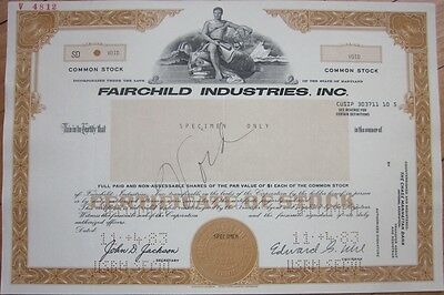 SPECIMEN Stock Certificate: 'Fairchild Industries, Inc.' - Aviation/Aircraft