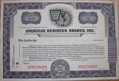1940s SPECIMEN Stock Certificate: 'American Business Shares, Inc.'