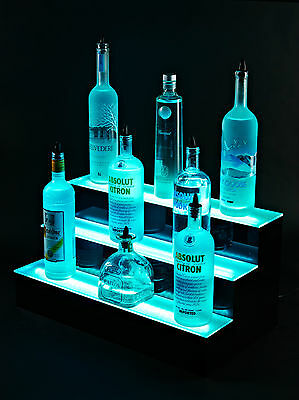 LED Lit Acrylic Bottle Display 2ft 3 Step Tier