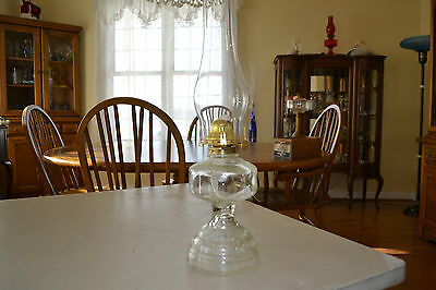 Vintage Glass Oil Lamp, New B&P Burner with wick, Table Stype, Item #293