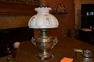 "Antique 1895 P&A ""Plumwood"" Oil Lamp with Interior Hand Painted Shade, Item 480"