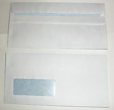 100 x  White Window Envelope DL Size 80gsm Self-Seal Flap (110mmx220mm)