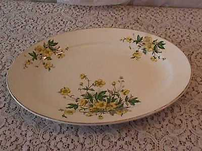 """vintage KNOWLES U S A CHINA OVAL SERVING PLATTER  14""""long 10""""wide yellow flowers"""
