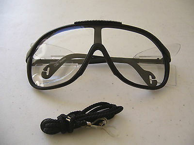 New TCI Black Adult Safety Glasses with Lanyard - Lot of 12