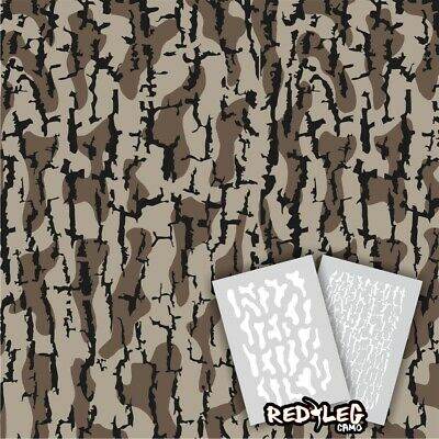 Redleg Camo Timber HD 4 Piece camouflage stencil kit 18x26 & 9x12 duck boat
