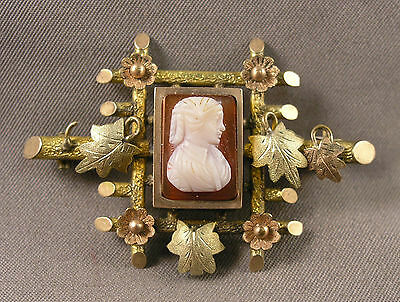 Antique Gold Filled & Hardstone Lady Cameo Brooch back has place for hair as is!