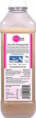 Fine Himalayan Pink Salt 1kg Edible Food Grade Rock Unrefined Bath Organic