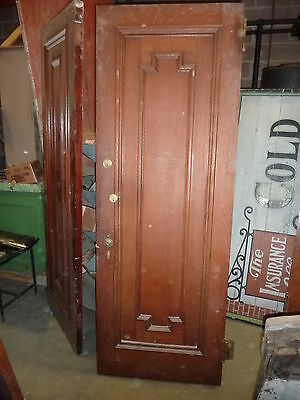 c1902 antique QUARTERSAWN OAK & MAHOGANY door BEAUX ARTS mansion 84 x 30 x 1 7/8