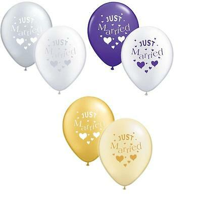 """Just Married Wedding Decoration Balloons 12""""  Pick Your Colour & Pack Size"""